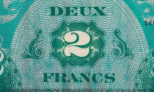 2 francs and 5 francs Type 1944 (Flag back) in letter X