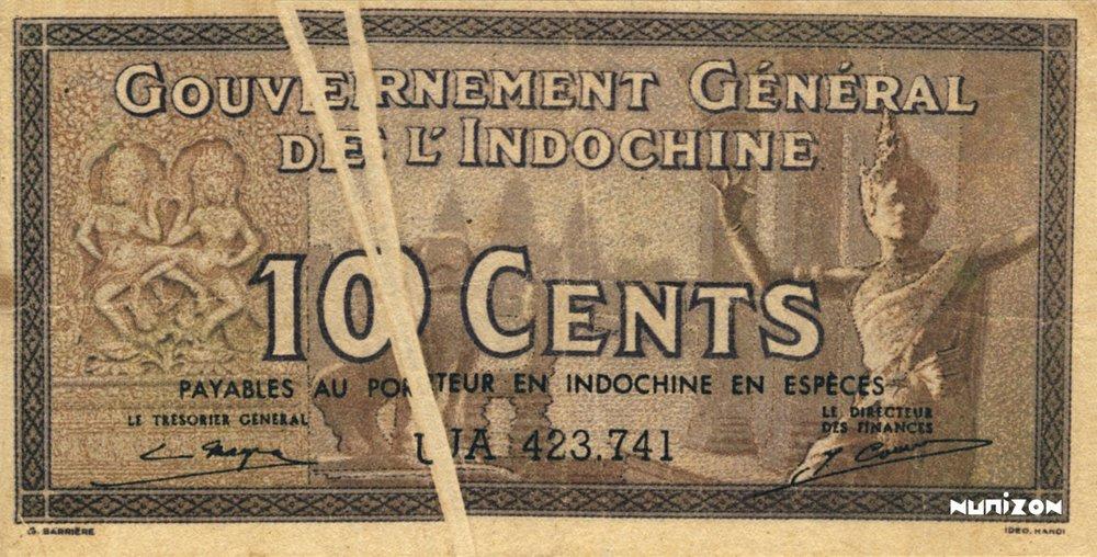 10 Cent Indochine française fauté