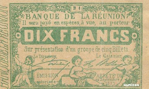 Bank of Reunion. 10 francs Green Type 1873