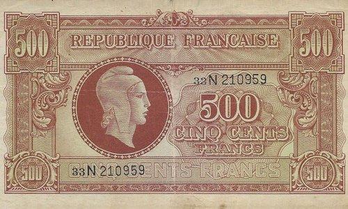 """Rare 500 francs Marianne """"Letter N"""""""