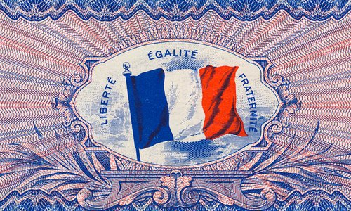 "The 100 francs Type 1944 ""Flag back"", Series ""X"""